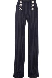Veronica Beard   Quinn lace-up striped crepe wide-leg pants at Net A Porter