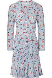 Veronica Beard   Rowe gathered floral-print silk crepe de chine mini dress at Net A Porter
