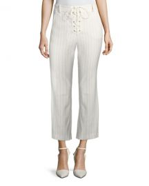 Veronica Beard Allegra Cropped Lace-Up Pants   Neiman Marcus at Neiman Marcus