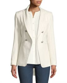 Veronica Beard Apollo Linen Cotton Double-Breasted Jacket at Neiman Marcus
