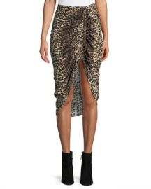 Veronica Beard Ari Ruched Leopard-Print High-Low Skirt at Neiman Marcus