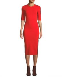 Veronica Beard Audrie 3 4-Sleeve Jersey Midi Dress with Racer Stripes at Neiman Marcus