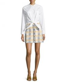 Veronica Beard Aurelia Long-Sleeve Combo Dress with Poplin Shirt at Neiman Marcus