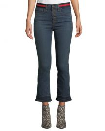 Veronica Beard Carolyn Cropped Baby Boot-Cut Jeans with Tuxedo Stripes at Neiman Marcus