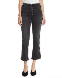 Veronica Beard Carolyn Flare-Leg Jeans w  Studded Tuxedo Stripes at Neiman Marcus