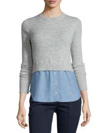 Veronica Beard Cati Wool Shirttail Combo Sweater  Gray Blue at Neiman Marcus
