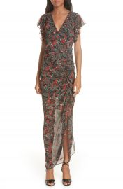 Veronica Beard Cecile Print Cold Shoulder Silk Dress at Nordstrom