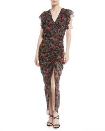 Veronica Beard Cecile Ruched Floral-Print Silk Dress at Neiman Marcus