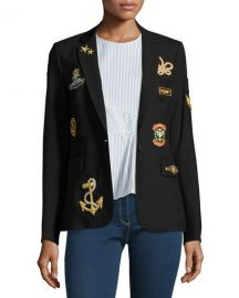 Veronica Beard Classic Patch Jacket  Black   Neiman Marcus at Neiman Marcus