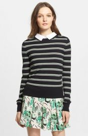 Veronica Beard Collared Button Back Stripe Sweater at Nordstrom