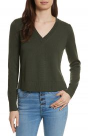 Veronica Beard Concord V Neck Mixed Media Sweater at Nordstrom