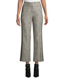 Veronica Beard Cormac Plaid Cropped Trousers with Tuxedo Stripes at Neiman Marcus