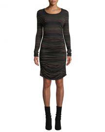 Veronica Beard Daphne Striped Metallic Long-Sleeve Dress at Neiman Marcus