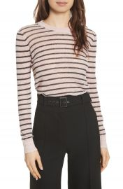 Veronica Beard Dean Stripe Linen Blend Sweater at Nordstrom