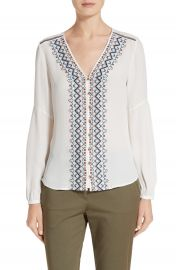 Veronica Beard Dream Embroidered Silk Blouse at Nordstrom