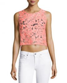 Veronica Beard Embroidered Organza Sleeveless Top Neon Pink at Neiman Marcus