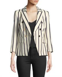 Veronica Beard Empire Striped One-Button Dickey Jacket at Neiman Marcus