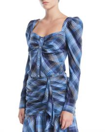 Veronica Beard Frankie Plaid Puff-Sleeve Button-Front Top at Neiman Marcus