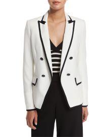 Veronica Beard Harriet Cutaway Contrast Jacket  Off White at Neiman Marcus