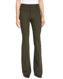 Veronica Beard Hibiscus High-Rise Flare Pants  Loden at Neiman Marcus