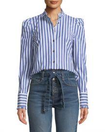 Veronica Beard Holli Striped Strong-Shoulder Button-Front Shirt at Neiman Marcus
