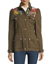 Veronica Beard Huxley Embroidered Utility Jacket   Neiman Marcus at Neiman Marcus