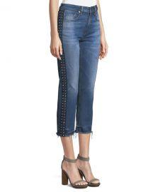 Veronica Beard Ines Cropped Straight-Leg Girlfriend Jeans W  Rhinestones at Neiman Marcus