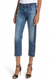 Veronica Beard Ines Rhinestone Side Stripe Girlfriend Jeans at Nordstrom