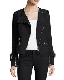 Veronica Beard Jordan Collarless Moto Jacket  Black at Neiman Marcus