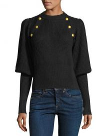 Veronica Beard Jude Crewneck Leg-of-Mutton Sleeve Wool Sweater at Neiman Marcus