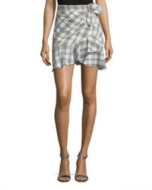 Veronica Beard Kaia Tie-Waist Plaid Mini Skirt at Neiman Marcus