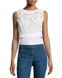 Veronica Beard Lace Shirting Combo Top at Neiman Marcus