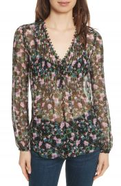 Veronica Beard Lowell Floral Silk Blouse at Nordstrom