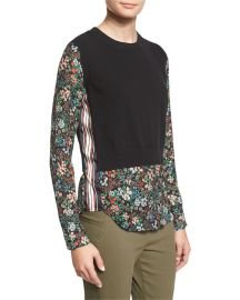 Veronica Beard Mellow Mixed-Media Cashmere Sweater  Black at Neiman Marcus