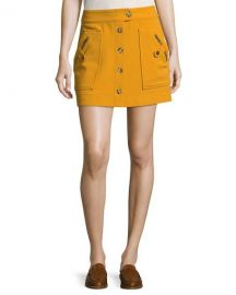 Veronica Beard Monroe A-Line Button-Front Mini Skirt at Neiman Marcus