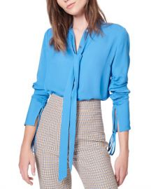 Veronica Beard Remi Ruched Tie-Neck Silk Blouse at Neiman Marcus