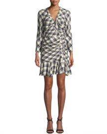 Veronica Beard Rowe Button-Front Ruched Check Mini Dress at Neiman Marcus