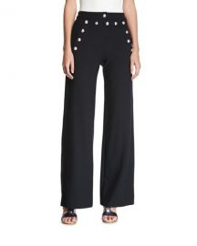 Veronica Beard Shore Sailor Wide-Leg Pants  Black at Neiman Marcus