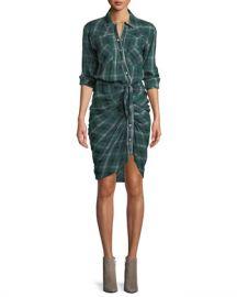 Veronica Beard Sierra Gathered Plaid Button-Front Shirtdress at Neiman Marcus