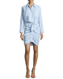 Veronica Beard Sierra Ruched Chambray Mini Dress  Light Blue at Neiman Marcus