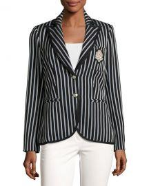 Veronica Beard Spirit Striped Pique Blazer  Black Blue at Neiman Marcus
