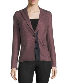 Veronica Beard Sterling Placket Herringbone Tailored Jacket at Neiman Marcus