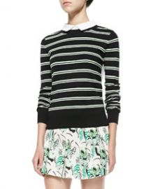 Veronica Beard Striped KnitPoplin Combo Top at Neiman Marcus