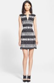 Veronica Beard Woodblock Print Flounce Skirt Dress at Nordstrom