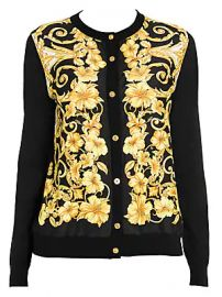 Versace - Hibiscus Print Silk Cardigan at Saks Fifth Avenue