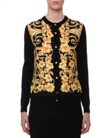 Versace Hibiscus-Print Silk-Front Button-Down Cardigan at Neiman Marcus