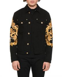 Versace Men  x27 s Baroque-Print Denim Jacket at Neiman Marcus