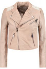 Vicky cotton-trimmed leather biker jacket at The Outnet