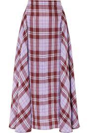 Victoria Beckham - Pleated checked crinkled-taffeta skirt at Net A Porter