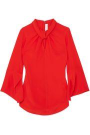 Victoria Beckham   Twist-front silk crepe de chine blouse at Net A Porter